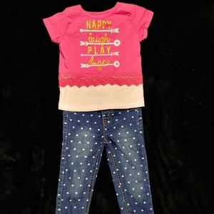 Tee and heart jeans outfit